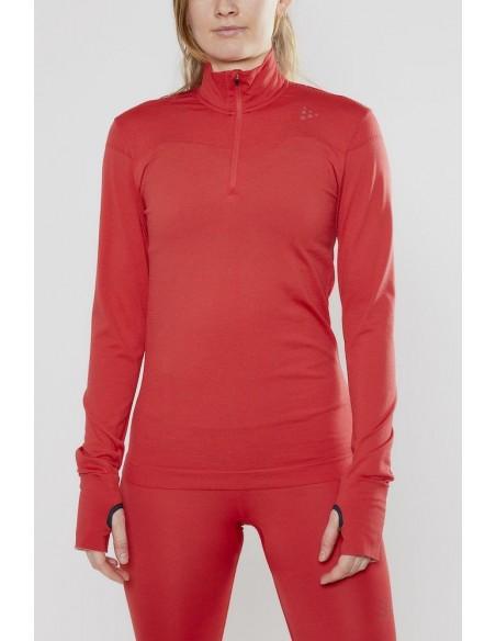 Koszulka damska Craft Fuseknit LS ZIP Czerwona