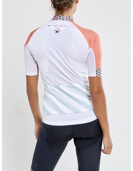 Koszulka rowerowa damska Craft Specialiste SS Biało-Pomarańczowa