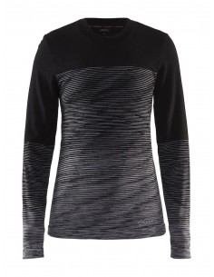 Koszulka termoaktywna damska Craft Wool Comfort 2.0 CN LS, czarno-szara