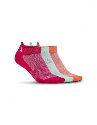 Skarpetki treningowe CRAFT Cool Shaftless 3-pack Sock różowe, pomarańczowe, białe