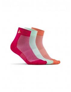 Skarpetki sportowe Craft Cool Mid 3-pack Sock różowe, białe, pomarańczowe