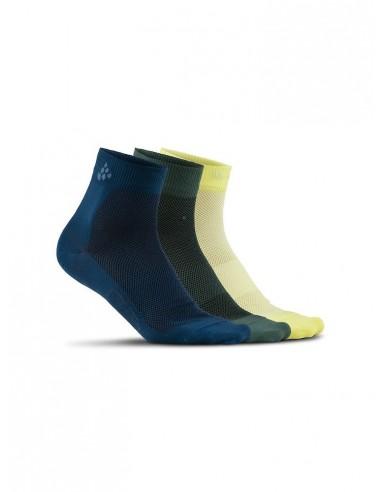 Skarpetki sportowe CRAFT Cool Mid 3-pack Sock granatowe, szare, żółte