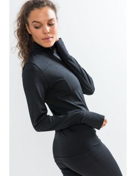 Koszulka damska Craft Fuseknit LS ZIP Czarna